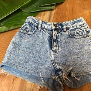 Bullhead Denim Acid Wash Jean Shorts